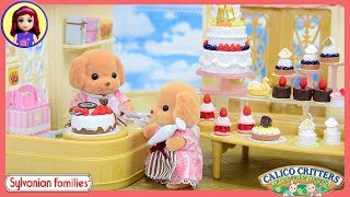 Sylvanian Families Calico Critters Village Cake Shop & Cake Decorating Set Unboxing Setup - Kids Toy