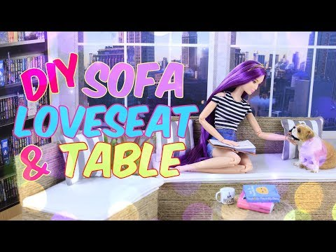 DIY - How to Make: Doll Sofa Love Seat and Table | Indoor Outdoor Furniture | Doll Crafts