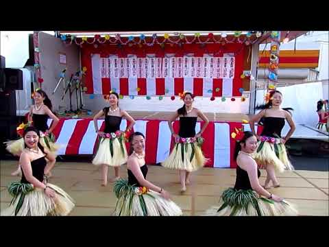 あさか開成高校 フラダンス同好会 IN あぶくま台盆踊り2018 タヒチアン
