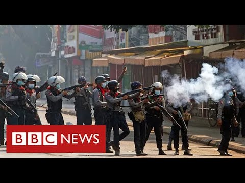 "Army in Myanmar shoot dead ""at least 18 peaceful protesters""  - BBC News"