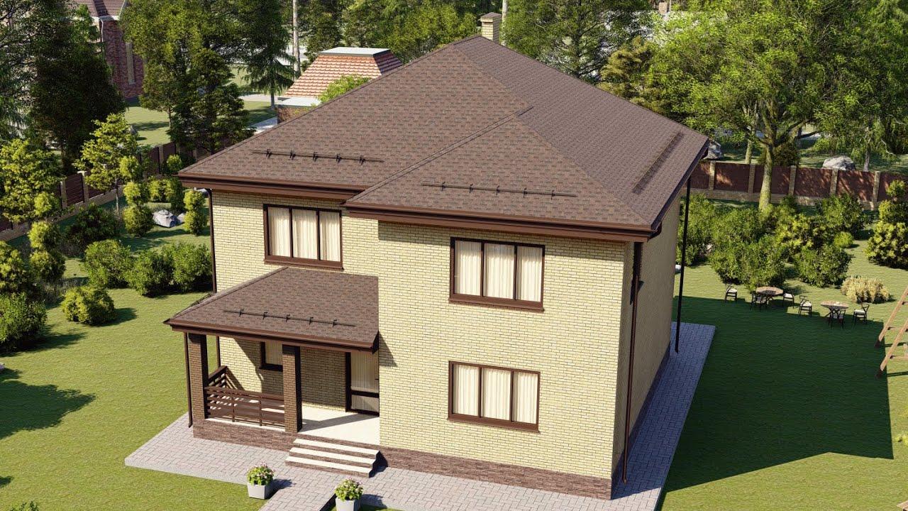 Проект большого дома из газобетона с облицовкой кирпичом