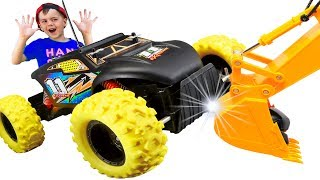 Funny Alex Unboxing And Assembling Car Monster Truck Power Wheel Ride on Sand Off Road