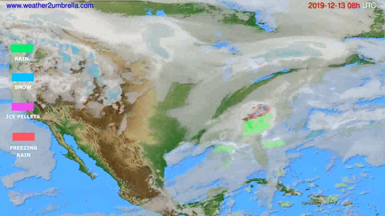 Precipitation forecast USA & Canada // modelrun: 12h UTC 2019-12-12