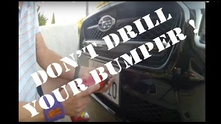 WRX front license plate mounting no drilling bumper