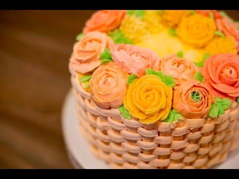Blumenkorb-Torte für Muttertag - Buttercremetorten Serie - I