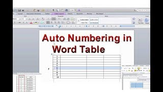 How Insert auto serial number in MS Word table