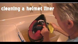 Cleaning a motorcycle helmet liner