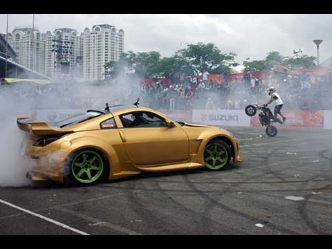 Car & Bike Stunt Shows At Motorbike Festival 2014