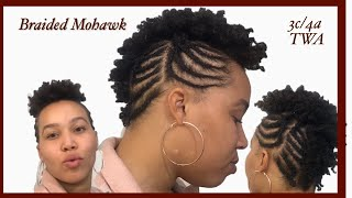 How To Braided Mohawk With Curls | Natural TWA Hair #8