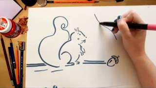 Como desenhar um Esquilo - desenhos para crianças