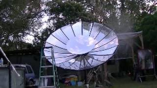 GIANT parabolic SATELLITE solar dish cannot blind a pilot