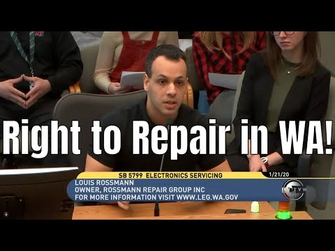 Louis Rossmann Right to Repair testimony in Washington SB 5799