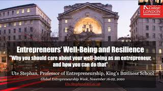 Professor Ute Stephan talks about entrepreneurs wellbeing and resilience | GEW 20 x 20