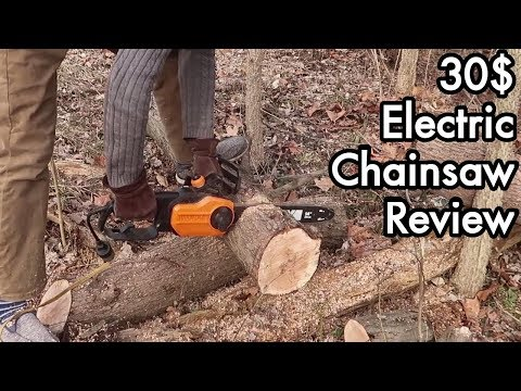 Random Bits 220: 30$ Refurbished WORX WG305 Electric Chainsaw Review, Firewood, Forest Clearing