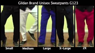 Gildan brand Open-Bottom Pocketed Unisex Sweatpants Sizing Video (G123)