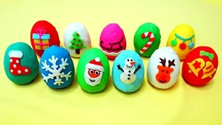 Christmas play doh surprise eggs and toys for kids
