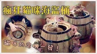 【魚乾】貓物開箱 - 瘋狂貓咪海盜桶!貓咪的危機一發!