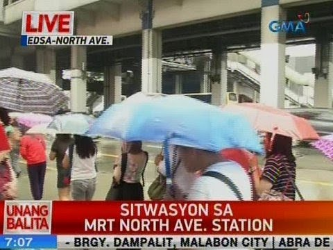 [GMA]  UB: Sitwasyon sa MRT North Avenue Station as of 7:07 a.m. (July 16, 2018)