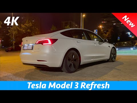 Tesla Model 3 2021 Refresh - FIRST detail look at night in 4K | Exterior - Interior (LED Matrix)
