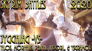 Jyggalag -Vs- Talos Morihaus Pelinal Whitestrake Indoril Nerevar And Ysgramor - Skyrim Battles