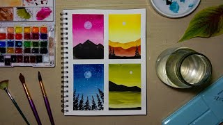 4 Easy And Simple Watercolor Paintings For Beginners! | Step-by-step Tutorial