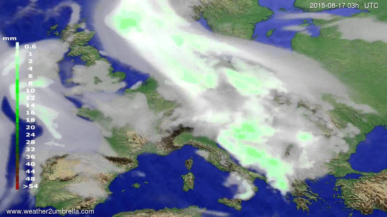 Precipitation forecast Europe 2015-08-14