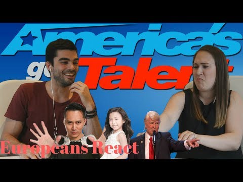Europeans React to America's Got Talent ft Demian Aditya, Celine Tam and Singing Trump (видео)