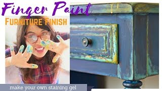 Thrifted & Up Cycled DIY Chippy Furniture Paint Finish With Your Fingers.