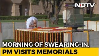 PM Pays Respects At Gandhi, Vajpayee Memorials Before Oath Ceremony