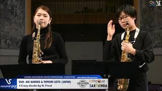 DUO Aoi KANEKO & Tomomi GOTO play 4 Crazy Etudes by N. Prost #adolphesax
