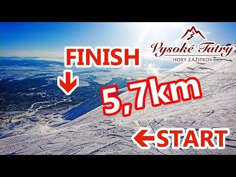 Tatrzańska Łomnica - trasa z Łomnickiej Przełęczy w Tatrach, najwyżej położona i najdłuższa trasa narciarska na Słowacji  - © SkiBum