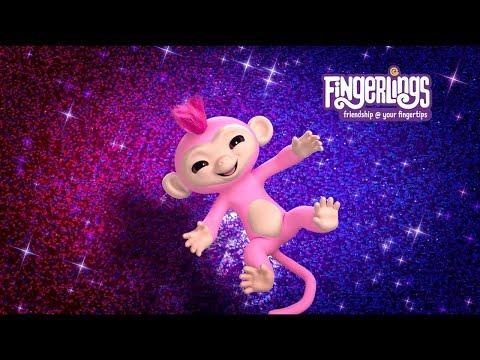 Интерактивная обезьянка розовая Fingerlings Роза, 12 см