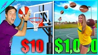BASKETBALL vs FOOTBALL Trickshot Challenge Level $10 to $1,000! Ft. Jenna Bandy, Caleb Feemster