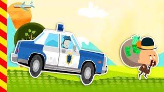 Полицейская машина мультик. Полицейские мигалки. Полицейские машины для детей. Ловим преступников