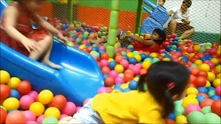 Indoor Playground Ball Pit for Kids - How Excited Kids Playing with Balls Slides amd Bridge