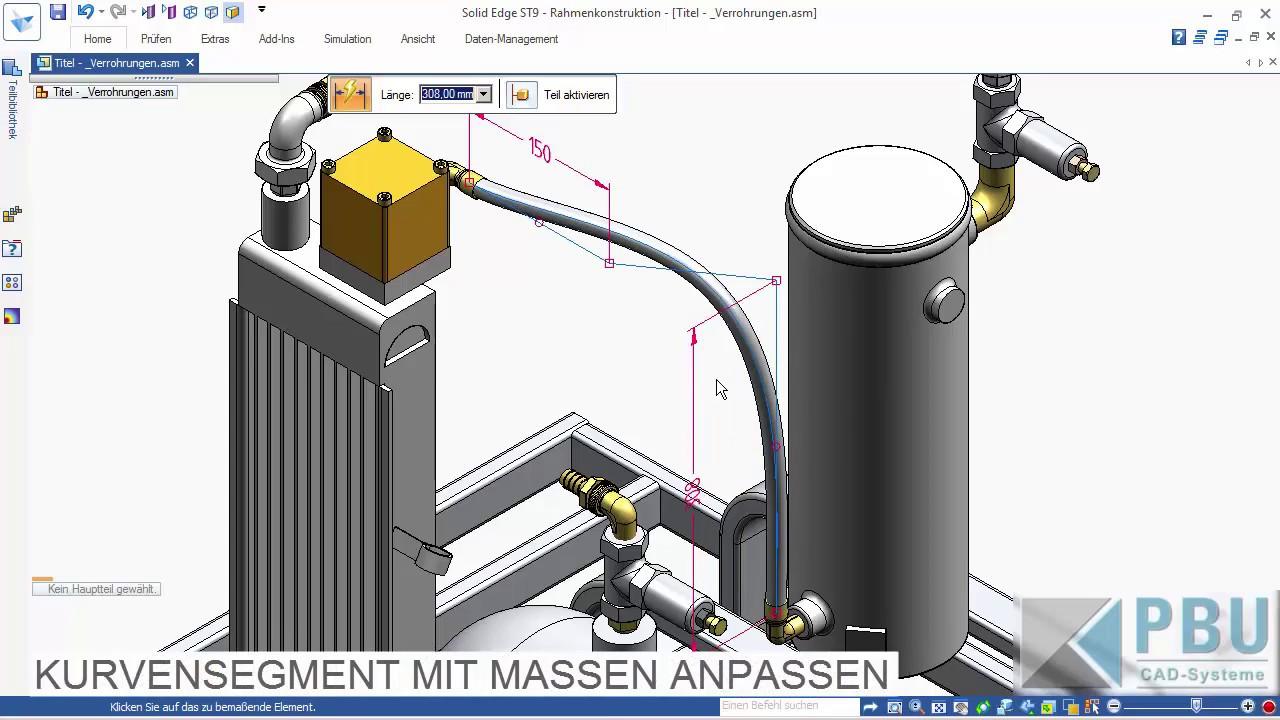 Vorschaubild: Solid Edge Tutorial: Schläuche und flexible Leitungen mit dem Rahmengenerator erzeugen