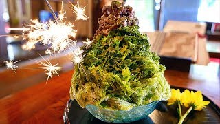 Japanese Food - FIREWORKS SHAVED ICE Matcha Red Bean Mochi Fukuoka Japan