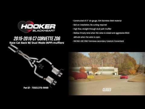 70501376-RHKR: 2015-16 Corvette Z06 RACE Cat Back - Dual Mode - Hooker BlackHeart Exhaust