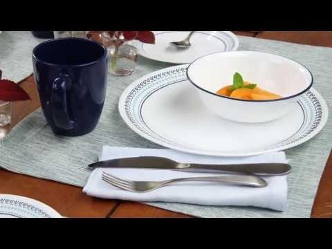 Corelle - Folk Stitch 16 Piece Dinnerware Set & Corelle Brands