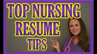 Resume Tips: Perfecting Nursing Resume, Cover Letter, Online Job Applications