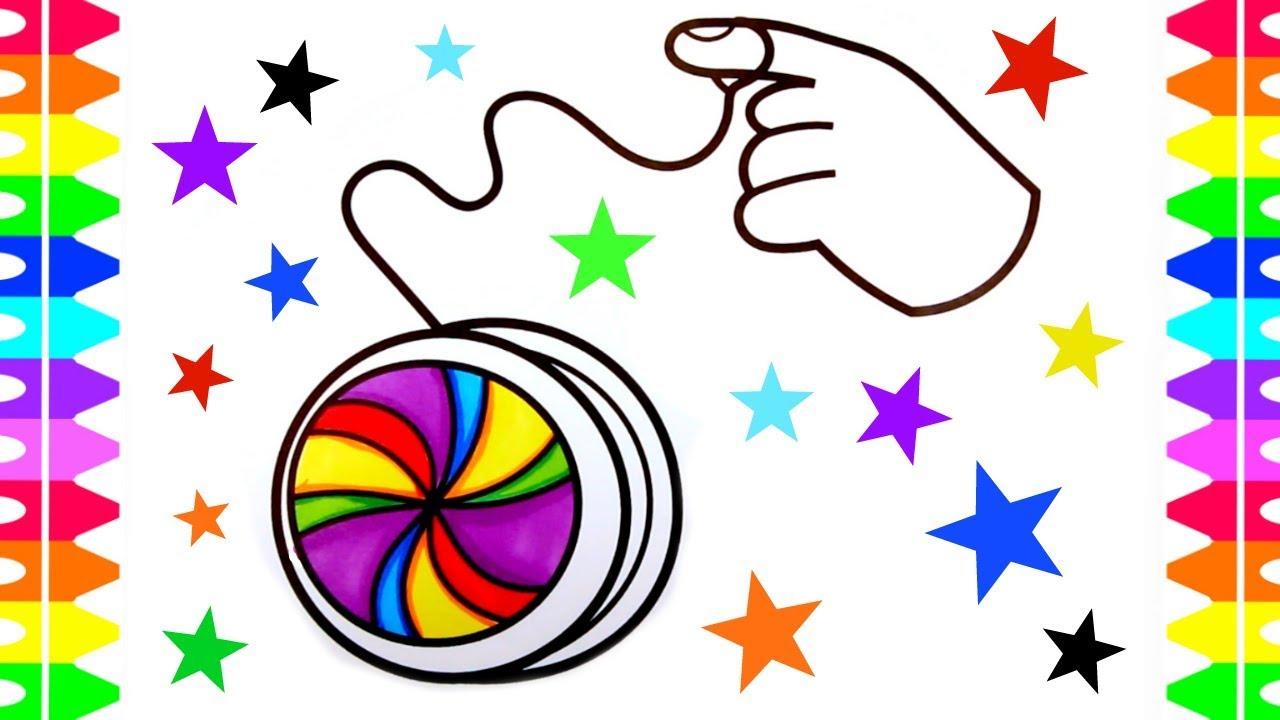 Как нарисовать игрушку ЙО-ЙО   Забавная игрушка-раскраска для детей   Художественные краски для детей   Цветная маркировка