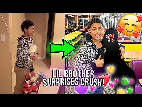 Taking my little brother to SURPRISE his CRUSH with a Valentine Basket! 🥺😳😂 **cute**