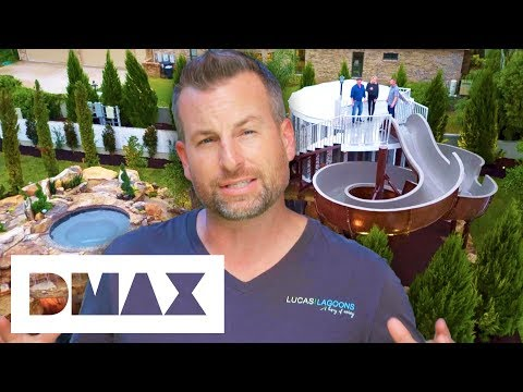 Lucas Builds An Epic Pool With A Massive Treehouse And A Park-Sized Slide | Insane Pools