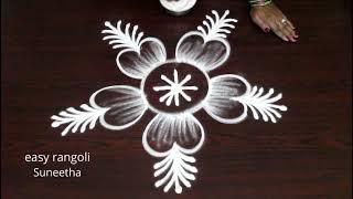 Very Cute N Free Hand Rangoli Arts By Suneetha * Easy N Simple Kolam * Latest Small Muggulu