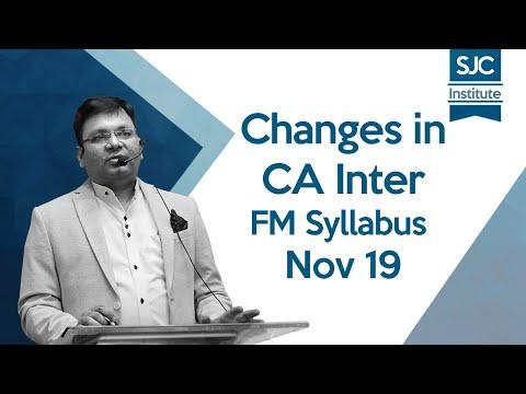 #Changes in CA Inter FM New Syllabus for Nov 19 | #SJC - YouTube