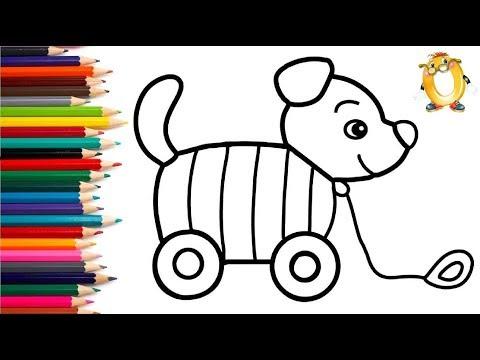 Раскраска для детей ИГРУШКА СОБАЧКА. Мультик - Раскраска. Учим цвета II ОБУЧАШКА ТВ