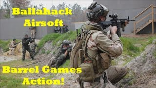 Ballahack Airsoft: Barrel Games Action! - L86, M4, Sr10, G36c, Ak-47