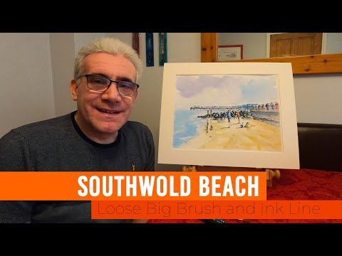 Thumbnail of Simple Loose Big Brush and Ink Line - Southwold Beach