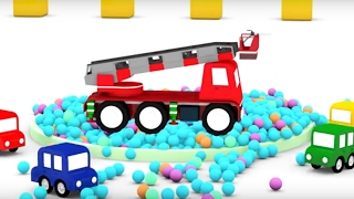 4 Машинки и пожарная машина. Мультики для детей про машинки.