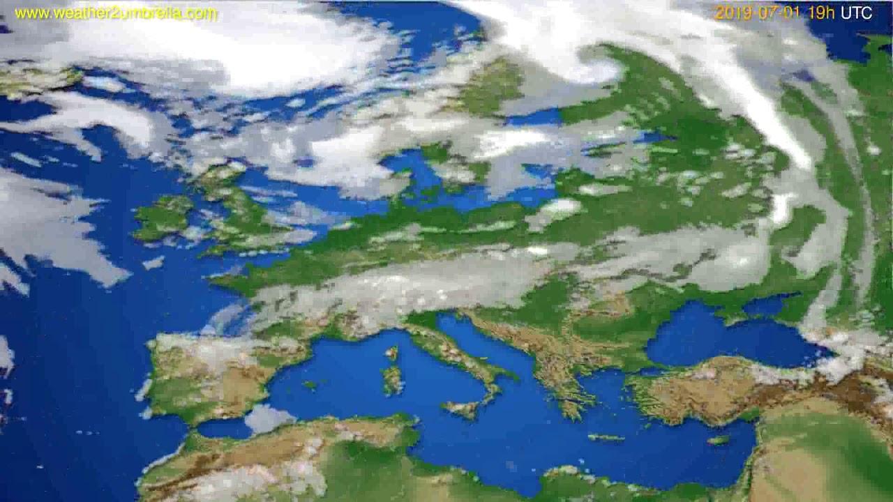 Cloud forecast Europe // modelrun: 12h UTC 2019-06-28